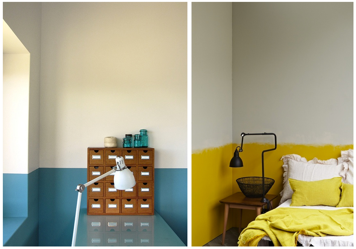 HALF PAINTED WALL YELLOW BLUE